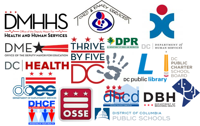 DC government agency logos of Thrive by Five Coordinating Council members
