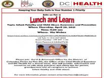 Flyer for Lunch and Learn about Safe Sleep Practices